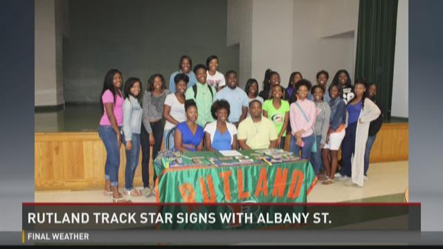 WATCH: Rutland track star signs college scholarship