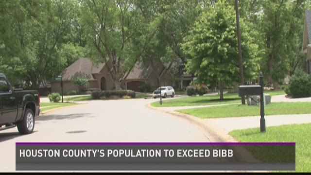 Houston County's population to exceed Bibb's