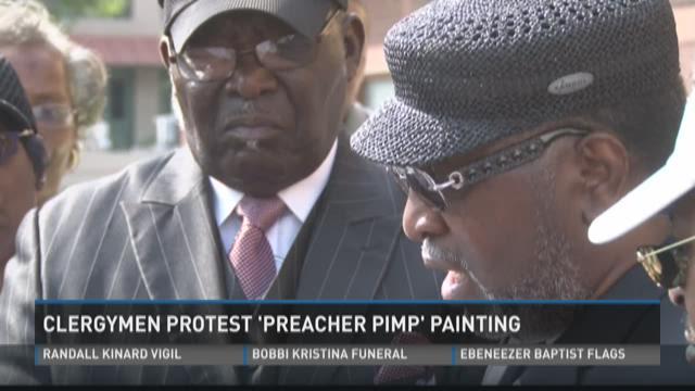 Clergymen protest 'Preacher Pimp' painting