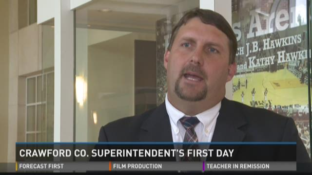 Crawford School Superintendent's first day on the job