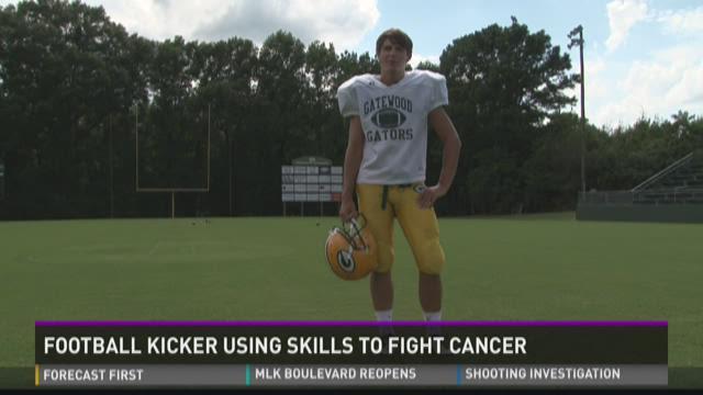 Football Player kicking cancer on friend's behalf