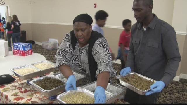 The King family in Warner Robins cooks a Thanksgiving meal for community members in need.